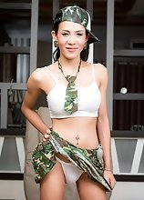 Busty Ladyboy Ja - Big Black Military Cock Fingering and Toying