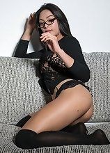Candy in glasses gets hot and horny playing with her fuck stick