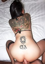 Tattooed Ladyboy Tata - Black Bikini Stockings and Toy Bareback