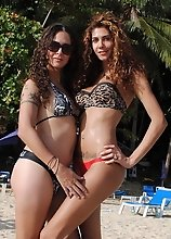Gorgeous tgirls Nicole & Bruna posing on the beach